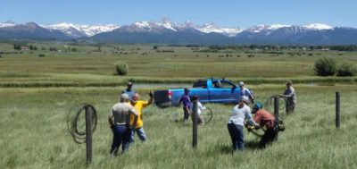Youth group participating in work in Idaho
