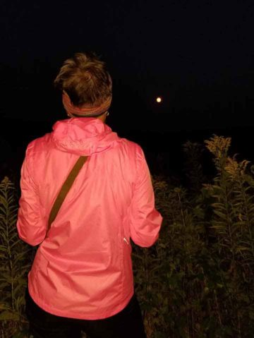 Onlooker watching the blue moon at night